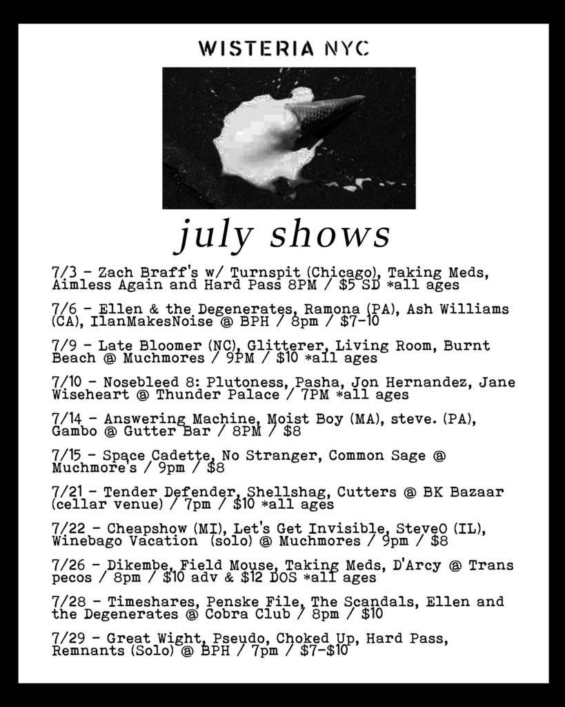 July 2018 Wisteria NYC Show Listings